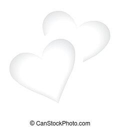 biały, serca, dwa, tło, romantyk