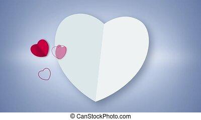 biały, sercowa forma, karta, ożywienie
