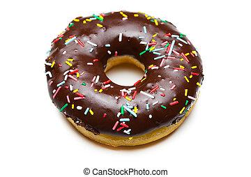biały, smakowity, odizolowany, donut, czekolada