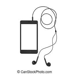 biały, smartphone, czarnoskóry, odizolowany, słuchawki