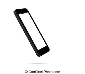 biały, smartphone, odizolowany, tło