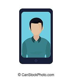 biały, smartphone, tło, człowiek
