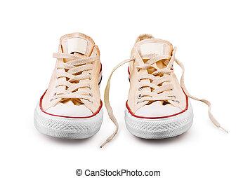 biały, sneakers, odizolowany