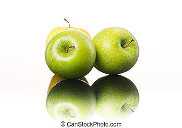 biały, soczysty, tło, jabłka