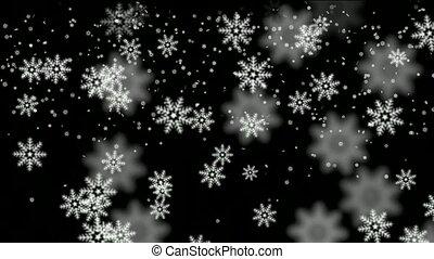 biały, spadanie, płatek śniegu