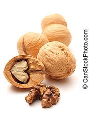 biały, stos, walnuts