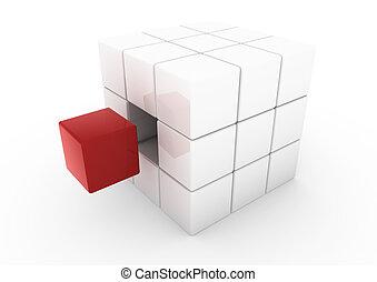 biały sześcian, handlowy, czerwony, 3d