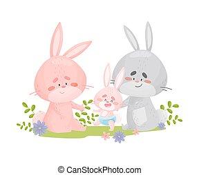 biały, tło., króliki, tatuś, niemowlę, ilustracja, walk., mamusia, uczyć, wektor