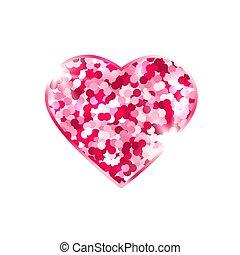 biały, tło., love., projektować, symbol, element, serce, card., iskierki, blask, różowy, jasny, odizolowany, list miłosny, wektor, ilustracja, stars., dzień, romantyk