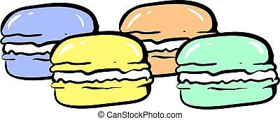 biały, tło., macarons, wektor, ilustracja, barwny