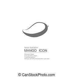 biały, tło., wektor, mango., odizolowany, pociągnięty