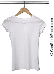 biały, t koszula, na, materiał, hangary