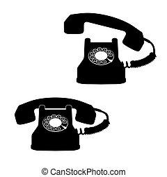 biały, telefon, przeciw, ikony