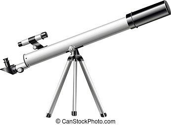 biały, teleskop, trójnóg