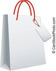 biały, torba na zakupy, wektor