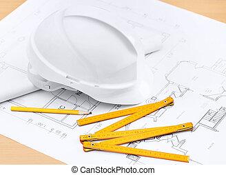 biały, twardy kapelusz, blisko, pracujący, narzędzia