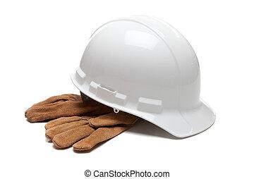 biały, twardy kapelusz, i, skóra, pracować rękawiczki, na białym