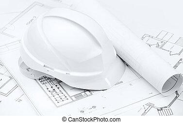 biały, twardy kapelusz, na, pracujący, rysunki