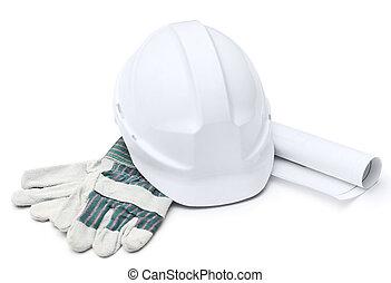 biały, twardy kapelusz, rękawiczki, druft