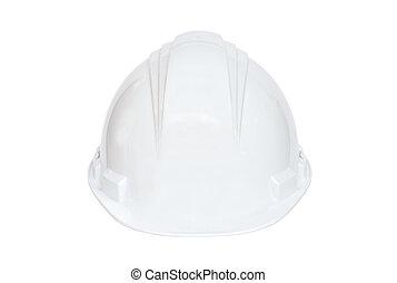 biały, twardy kapelusz