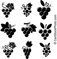 biały, wektor, czarne winogrona, ikony