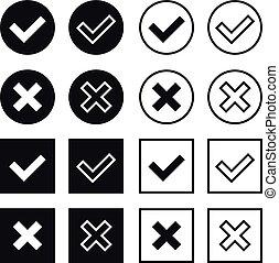 biały, wektor, czarnoskóry, czek, znaki