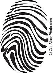 biały, wektor, czarnoskóry, odcisk palca