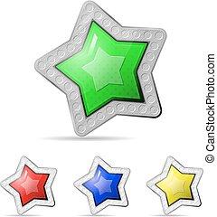 biały, wektor, gwiazda, tło, ikona