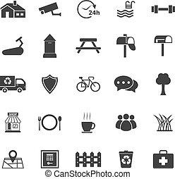 biały, wieś, tło, ikony