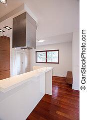 biały, worktop, w, nowoczesny, kuchnia