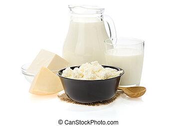 biały, wyroby, mleczny, odizolowany