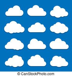 biały zasępia, na, błękitne niebo