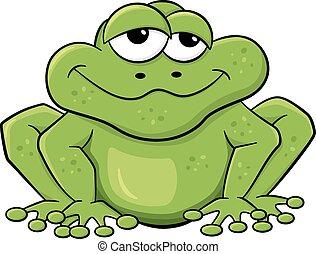biały, zielony, odizolowany, żaba, rysunek