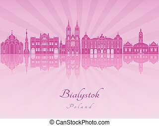 Bialystok skyline in purple radiant orchid