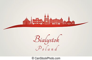 Bialystok skyline in red