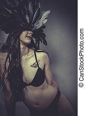 biancheria intima, donna, brunetta, sensuale, sexy