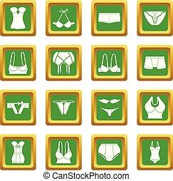 biancheria intima, quadrato, set, icone, vettore, verde