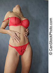 biancheria intima sexy, donna, rosso, parte