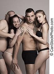 biancheria intima sexy, quartetto, swinger