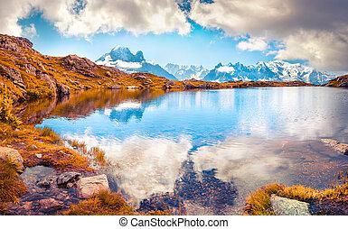 bianco), カラフルである, (monte, 湖, lac, 秋, mont, 背景, 朝, blanc