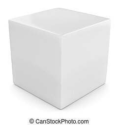 bianco, 3d, cubo, isolato