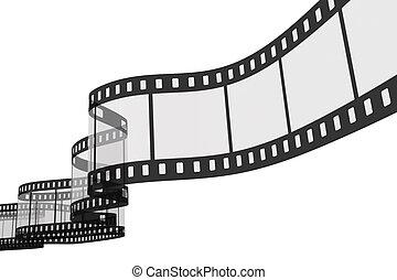 bianco, 3d, film, fondo, striscia