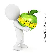 bianco, 3d, mela, presa a terra, persone