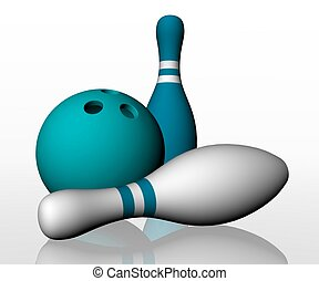 bianco, 3d, render, bowling