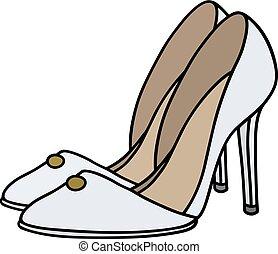 bianco, ago, scarpe, tallone