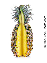 bianco, ananas, isolato, maturo
