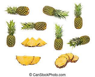 bianco, ananas, set, isolato