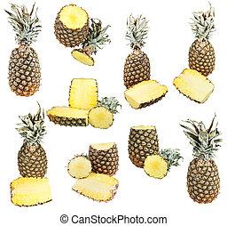 bianco, ananas, set, isolato, maturo