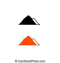 bianco, arancia, montagne, nero, disegno