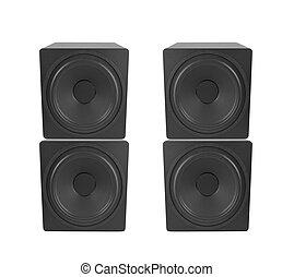 bianco, audio, altoparlante